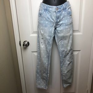 EXPRESS Distressed Ankle Jeans w/Polka-Dots Size 6